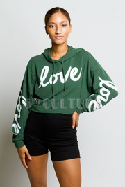 Casual Love Hooded Crop Sweatshirt