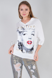 Famous Marilyn Graphic Hooded Cropped Sweater Top