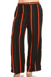 Plus Size Colorblock Striped Flared Pants