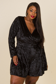 Plus Size Surplice Cocktail Velvet Long Sleeved Romper