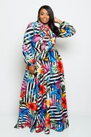 Plus Size Hawaiian Striped Puffled Sleeved Self-Tie Neck Maxi Dress