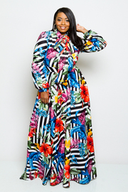 Plus Size Hawaiian Striped Puffled Sleeved Self-Tie Neck Maxi Dress