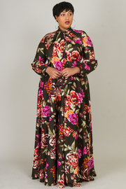 Plus Size Puffed Sleeved Floral Spring Maxi Self-Tie Neck Dress