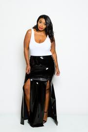 Plus Size Double Slit Sexy Faux Leather Maxi Skirt