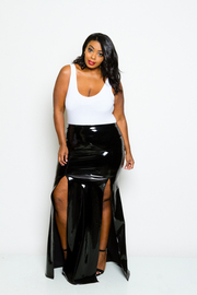 Plus Size Double Slit Sexy Faux Leather Maxi Skirt