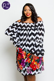 Plus Size Smocked Pattern & Floral Chiffon Tunic Off Shoulder Dress