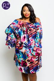 Plus Size Smocked Multi-Watercolor Chiffon Tunic Sheer Dress