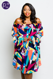 Plus Size Off Shoulder Smocked Mixed Artistic Colorblock Sheer Tunic Dress