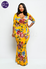 Plus Size Big Roses Printed Surplice Mermaid Maxi Dress