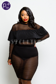 Plus Size Fashion Girl All Net Cropped Pencil Skirt Set