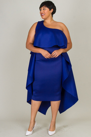 Plus Size All Around Flounced One Shoulder Classy Dress