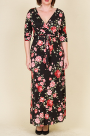 Plus Size Pretty In Roses Maxi Surplice Dress