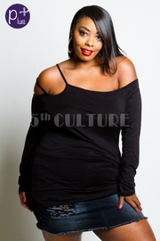 Plus Size Double Strap Solid Off Shoulder Jersey Top