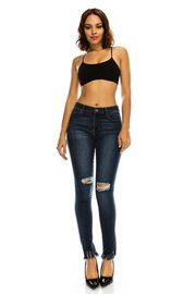 Plus Size Ripped Knee Fringed Hem Skinny Jeans