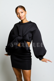 Classy Bow Tie Scuba Mini Cropped Sweater Skirt Set