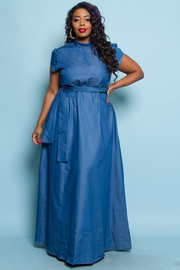 Plus Size Denim For Days Tie Waist Maxi Dress