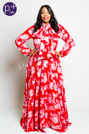 Plus Size Self-Tie Floral Print Flowy Maxi Puffed Sleeved Dress