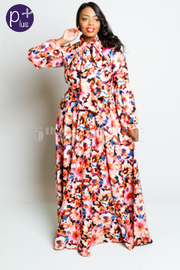 Plus Size Mixed Floral In Bloom Maxi Puffed Sleeved Flowy Maxi Tie Dress