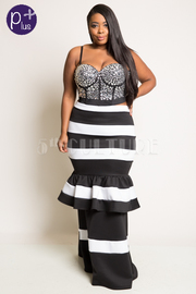 Plus Size Classy Mermaid Maxi Peplum Contrast Lined Tube Skirt