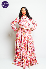 Plus Size Daisies Printed Self-Tie Maxi Flowy Puffed Sleeved Dress
