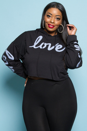 Plus Size In Love With This Cropped Hooded Sweater