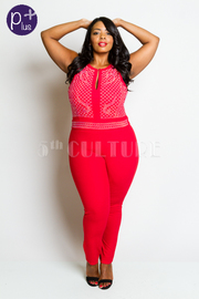 Plus Size V-Cut Embellished Studded Fit Sexy Jumpsuit