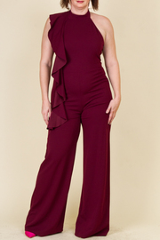 Plus Size Cascading Trendy Fit Halter Jumpsuit
