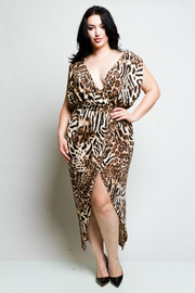 Plus Size Surplice Wild Leopard Tulip Overlap Dress