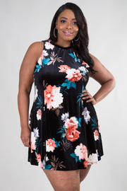 Plus Size Flowy Floral Velvet Tunic Dress