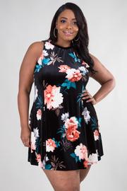 Plus Size Flowy Floral Velvet Tunic Dress