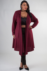 Plus Size Winter In Style Long Hooded Cardigan