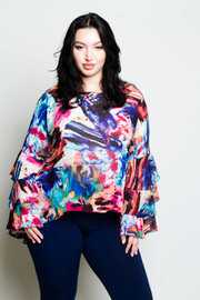 Plus Size Colorful Ruffled Layers Long Sleeved Blouse
