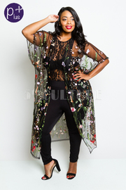 Plus Size Embroidery Colorful Floral Mesh Long Cardigan