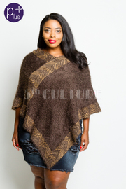 Plus Size V-neck Cozy Winter Print Poncho