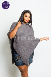 Plus Size Furry Collar V-neck Knitted Poncho