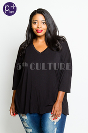Plus Size V-neck 3/4 Sleeved Jersey Top