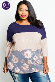 Plus Size Colorblock Floral 3/4 Sleeved Top