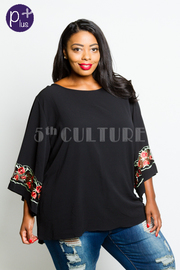Plus Size Roses Embroidery Solid Loose Top