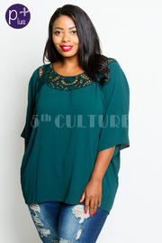 Plus Size Crochet Trim Loose Solid Top