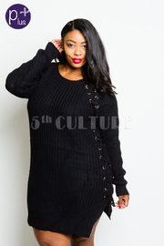Plus Size Sexy In Knitted Warm Winter Sweater Dress