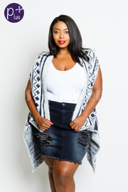 Plus Size Aztec Furry Open Long Cardigan