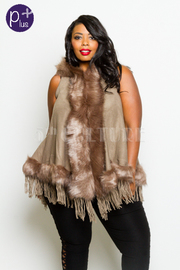 Plus Size Keeping Warm In the Winter Fringed Hooded Vest