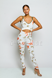 Cutout Waist Floral Zip Down Back Jumpsuit