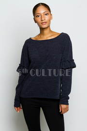 Ruffled Up Long Sleeved Knit Sweater