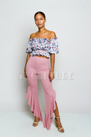 Pretty In 2-Piece Floral Cropped Flounced Pants Set
