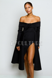 Classic Scuba Off Shoulder Skater Slit Dress