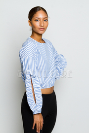 Ruffled Up Sleeved Striped Top