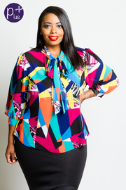 Plus Size 3/4 Sleeved Colorblock Artistic Sefl-Tie Blouse