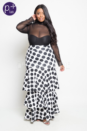 Plus Size Polka Dot In Fashion Ruffle Layered Maxi Skirt