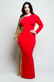 Plus Size Looking Like A Celebrity Sequin & Solid Glam Maxi Dress